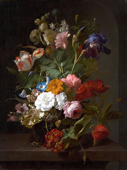 Vase avec des fleurs, Rachel Ruysch (vue à vtwonen)