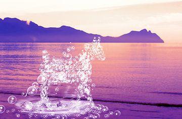 Een paard van waterdruppels van