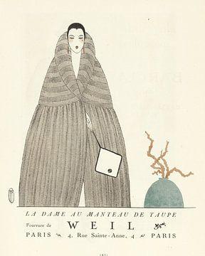La dame au manteau - Historischer Art Deco Mode-Druck von NOONY