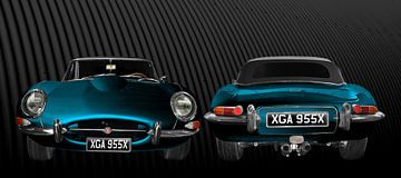 Jaguar E-Type Series 1 double view in blue von aRi F. Huber