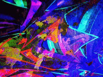 Modern, Abstract Digitaal Kunstwerk in Rood, Blauw, Paars, Neon van Art By Dominic