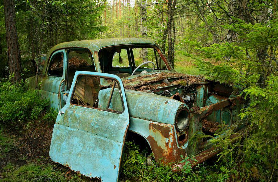 Autowrak in het bos