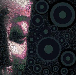 Buddha mit Seitenansicht in Magenta mit Kreisen - 08022021 von Michael Ladenthin