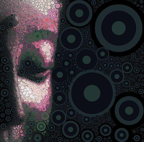 Buddha mit Seitenansicht in Magenta mit Kreisen - 08022021