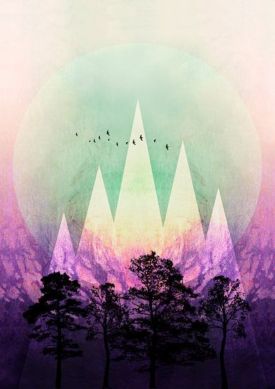 TREES under MAGIC MOUNTAINS VII van Pia Schneider