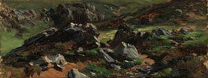 Carlos de Haes-Paysage de montagne en pierre noire, Paysage antique