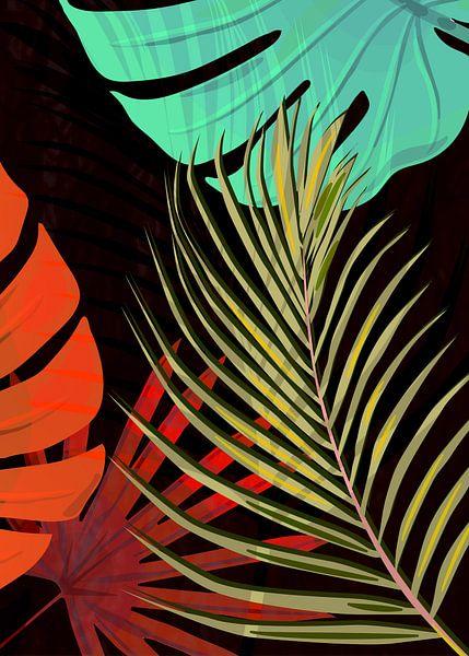 TROPICAL LEAVES & BLACK no2b van Pia Schneider