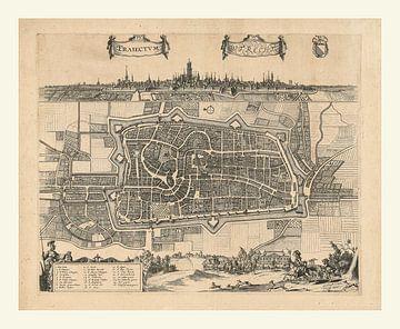 Plattegrond en stadsgezicht van Utrecht de Domstad van ca 1657 met wit kader van Gert Hilbink