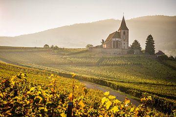 Die Kirche von Hunawihr im Herbstlicht von Michiel Mulder