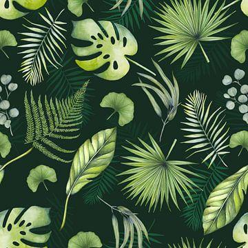 Tropische bladeren patroon van Geertje Burgers