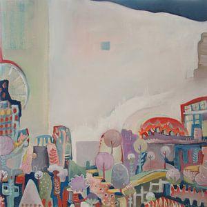 Olieverf schilderij abstracte stad - Stad #3