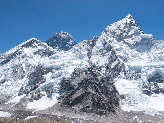 De Mount Everest, de hoogste berg ter wereld in de Nepal Himalaya van Menno Boermans