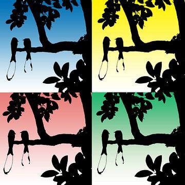 Collage van silhouetten van paradijsvogels op kleurige achtergrond van Gonnie van Hove