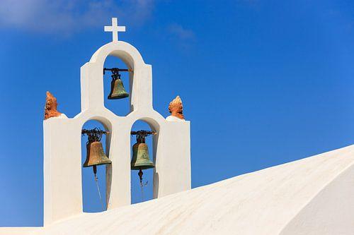 Belltower in Imerovigli, Santorini van Henk Meijer Photography