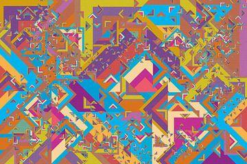 Abstrakte Arbeit mit Dreiecken 'Herbst'. von Ton Kuijpers