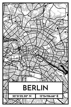 Berlijn - Stadsplattegrond ontwerp stadsplattegrond (Retro)