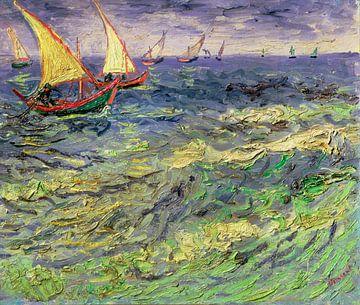 Fischerboote auf dem Meer bei Saintes-Maries, van Gogh