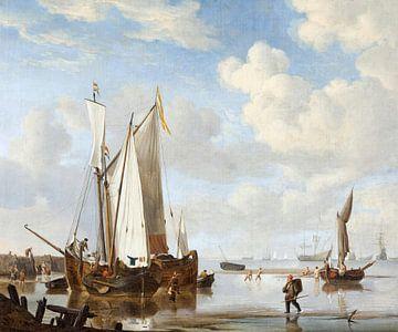 Een wijdschip en een kaag in een inham bij een zeewering, Willem van de Velde de Jongere. van