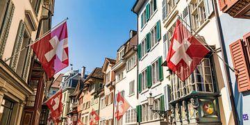 Augustinergasse in de oude binnenstad van Zürich van Werner Dieterich