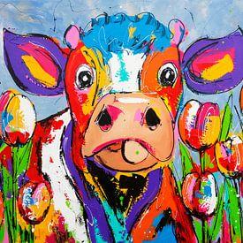 Koe tussen de tulpen van Vrolijk Schilderij