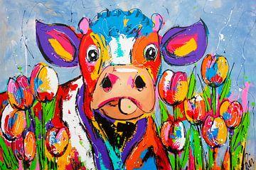 Vache entre les tulipes sur Vrolijk Schilderij