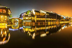Ville d'eau historique Wuzhen la nuit
