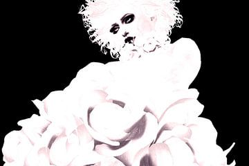 Madonna-artige Mademoiselle in Schwarz und Weiß