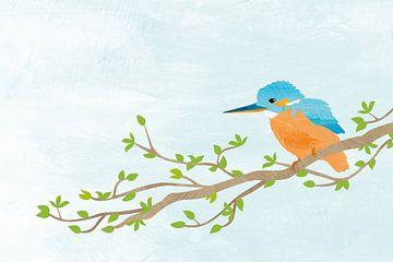 IJsvogel vogel op boomtak van Karin van der Vegt