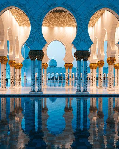 Sheikh Zayed Moskee (Abu Dhabi) in de avond