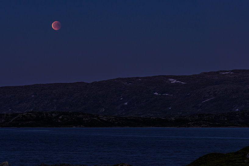 Blutmond über den Bergen von Telemark und Hordaland in Norwegen von Wouter Loeve