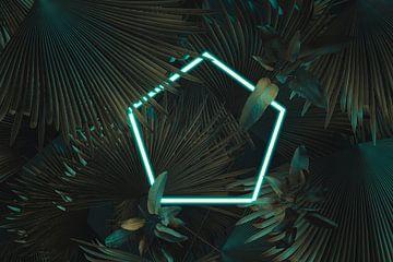 Vijfhoekig frame in neonlicht omgeven door tropische planten van Besa Art
