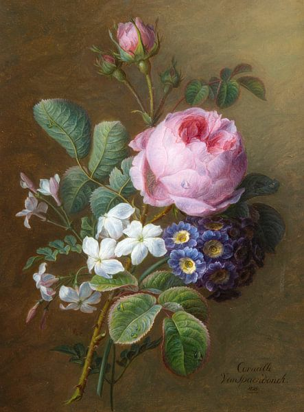 Strauß alter Rosen, Jasmin und Primeln, Cornelis van Spaendonck von Meesterlijcke Meesters