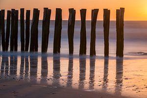 Zonsondergang in Wissant. van Wendy van Kuler