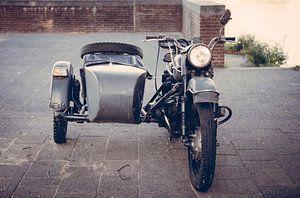 Oude zijspan motorfiets