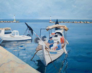 Hafen von Limenas Thassos von Antonie van Gelder Beeldend kunstenaar