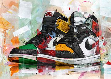 Nike air Jordan 1 retro high schilderij van Jos Hoppenbrouwers