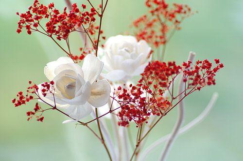 Frisches Rosenblüten Stillleben von