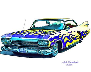 Cadillac 1959 Bleu et jaune sur Natasja Tollenaar