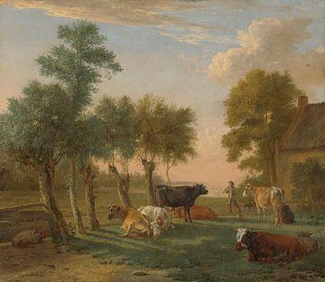 Kühe auf der Wiese an einem Bauernhof, Paulus Potter