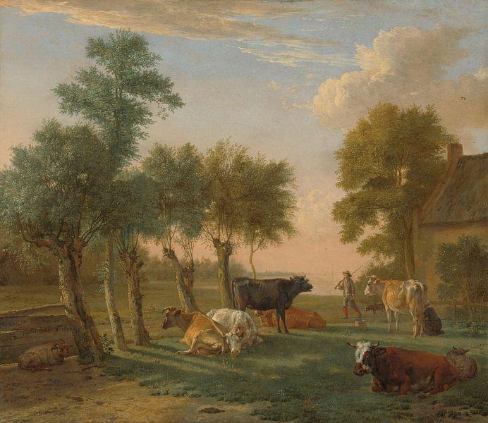 Koeien in de wei bij een boerderij, Paulus Potter, 1653 van Meesterlijcke Meesters