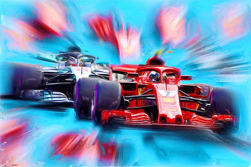 Kimi and Lewis on the Racetrack - Vers. II von Jean-Louis Glineur alias DeVerviers
