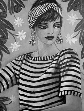 Lady In Stripes (Black And White) van Lucienne van Leijen