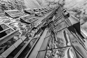 Moderne architectuur met spiegeling Medienhafen Dusseldorf