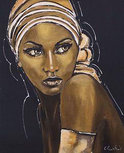 Afrikaanse Vrouw in goud zwart van Vrolijk Schilderij