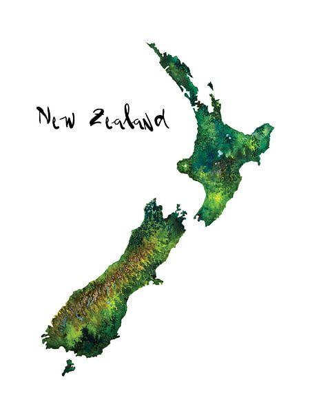 Nieuw Zeeland | Landkaart in Aquarel | Adventure van - Wereldkaarten.Shop -