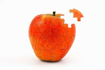 Appel verdeeld in puzzelstukjes van Yvonne Smits