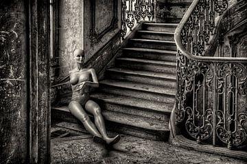 Etalage pop in trappenhuis van