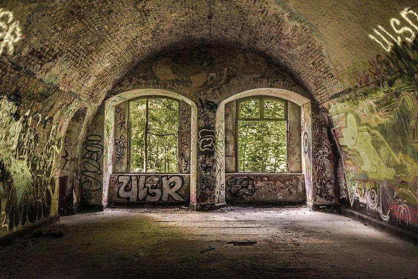 Verlaten kasteel met dubbel raam  van Samantha Schoenmakers