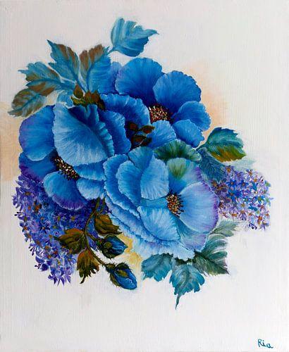 Blauwe bloemen von Ria Butter - Gotje
