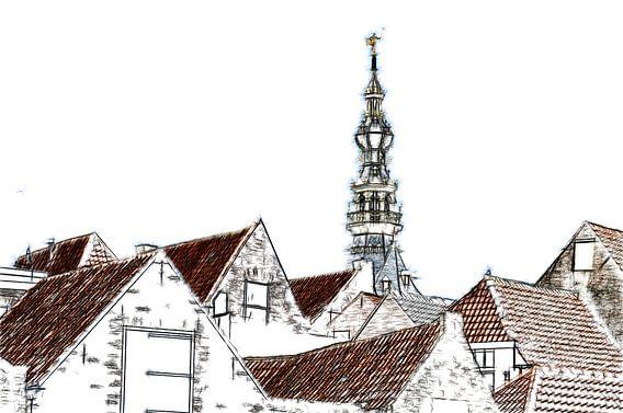De daken van Zierikzee van Mike Bing